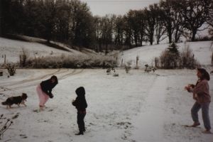 This is a photo from the 80s. I'm the one wearing the pink pants and that is my beloved dog Cassie on the far left.