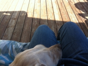 Maya and I on Porch Swing