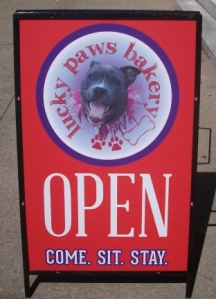 Welcome Sign for Lucky Dogs Bakery