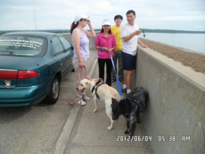 People and Dogs at Clinton Lake Bridge