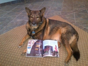 Rolo Posing with His Magazine Article