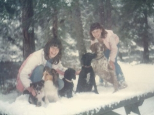 Me Angela and 5 Dogs in the Snow